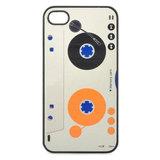 bescherm case cover cassette bandje voor iPhone 4/4s (wit-zwart-oranje)_