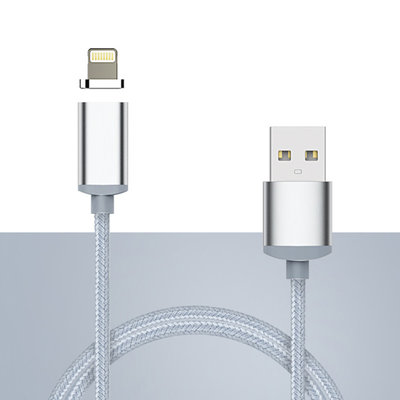 Magnetic charger cable lightning - magnetische laadkabel iPhone (zilver weave)
