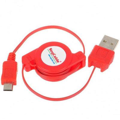 USB naar microUSB oprolbare oplaadkabel voor Blackberry/Nokia/samsung en meer (rood)