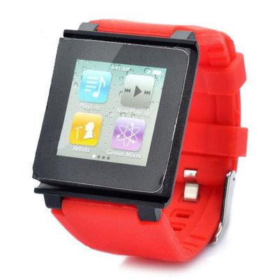 siliconen/kunstof Horloge band voor iPod Nano (rood/zwart)