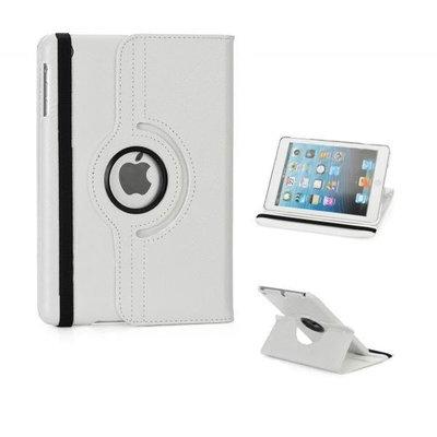 Draaibare lederlook cover  voor iPad mini (Wit)