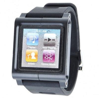 iPod Nano silicone horloge band met aluminium kast (Zwart)