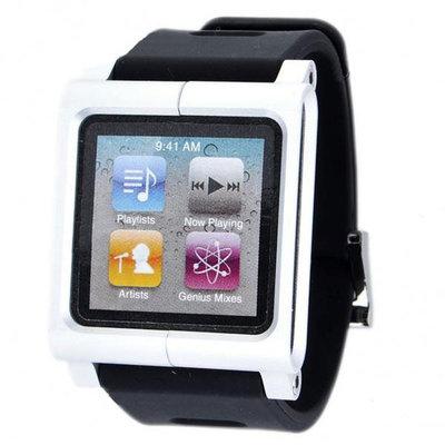 iPod Nano horloge band Aluminium kast silicone armband (zilver Zwart)