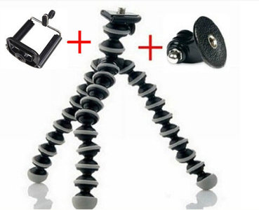 Flexibele mini tripod inclusief universele + gopro houder (zwart-wit)