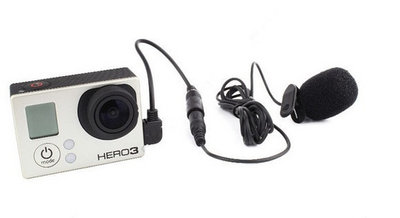 Clip-on action microfoon stereo voor goPro inclusief adapter