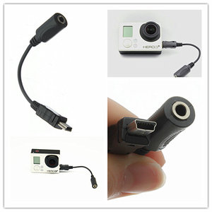 mini usb naar 3,5mm microfoon adapter voor GoPro (recht)