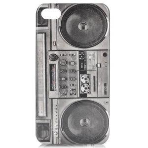bescherm case cover retro cassette recorder ghetto blaster voor iPhone 4/4s (grijs-zwart)