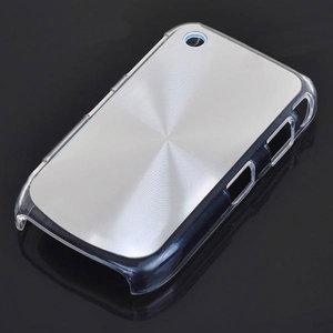 Bescherm hoesje met aluminium achterzijde voor de Blackberry 8520 (zilverkleurig)