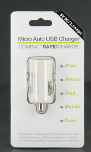 Autolader voor iPad/iPod/iPhone USB 2,1A (wit)